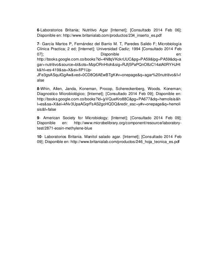6-Laboratorios Britania; Nutritivo Agar [Internet]; [Consultado 2014 Feb 06]; Disponible en: http://www.britanialab.com/pr...