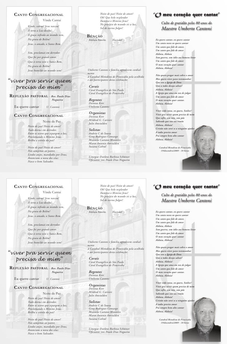 """""""O meu coração quer cantar""""       Culto de gratidão pelos 80 anos do       Maestro Umberto Cantoni   Eu quero cantar, eu q..."""
