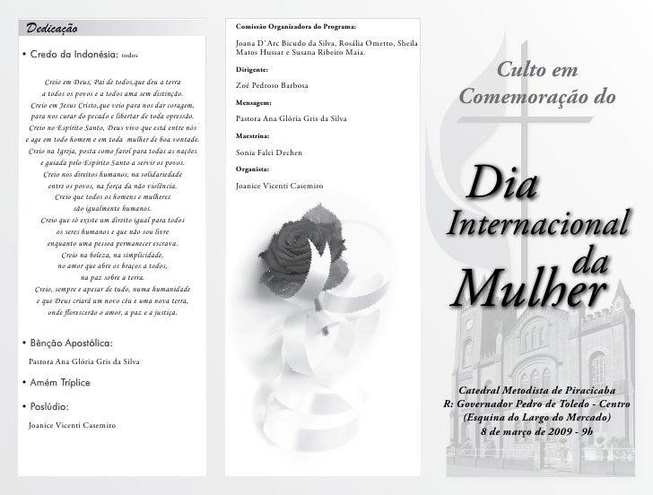 Culto em   Comemoração do        Dia Internacional                           da  Mulher    Catedral Metodista de Piracicab...
