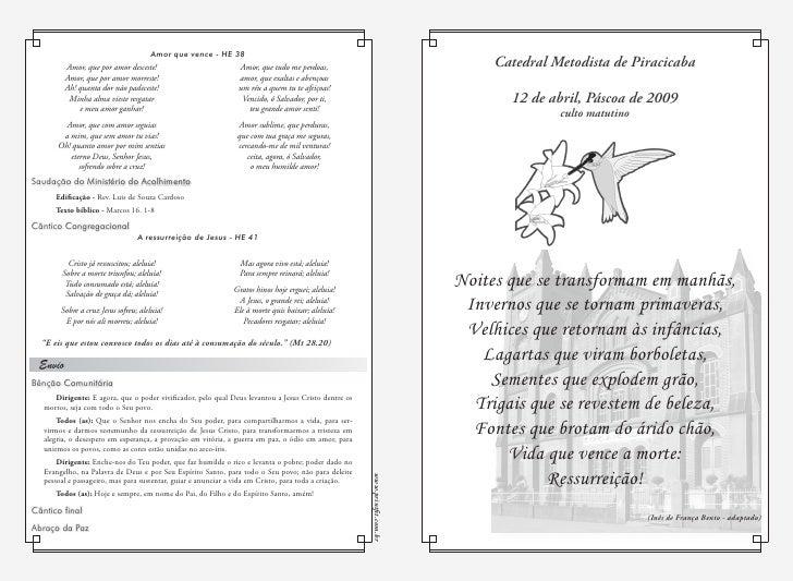 Catedral Metodista de Piracicaba         12 de abril, Páscoa de 2009                culto matutino     Noites que se trans...