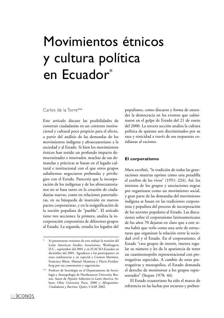 Movimientos étnicos             y cultura política             en Ecuador*              Carlos de la Torre**              ...