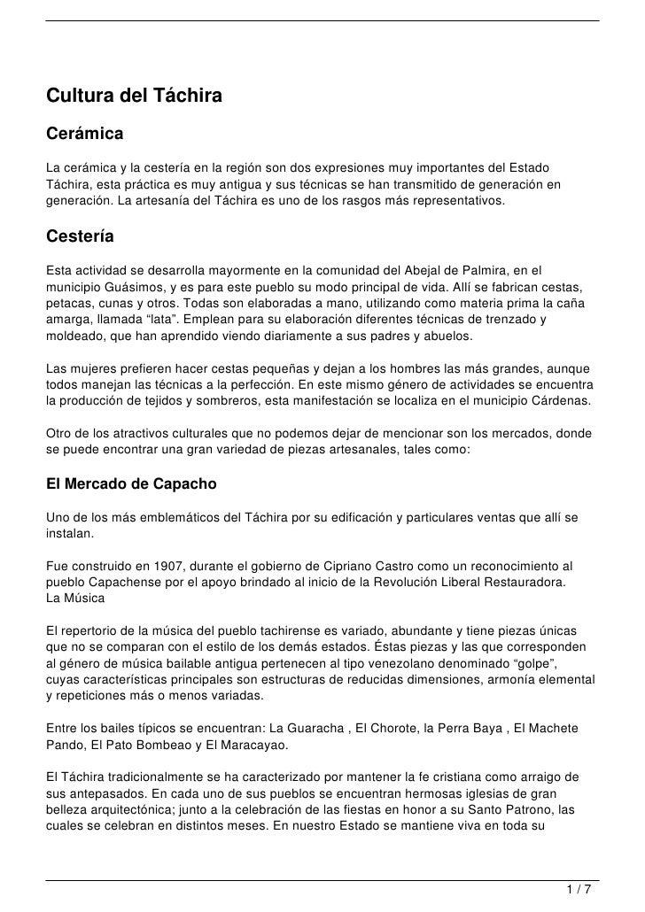 Cultura del TáchiraCerámicaLa cerámica y la cestería en la región son dos expresiones muy importantes del EstadoTáchira, e...