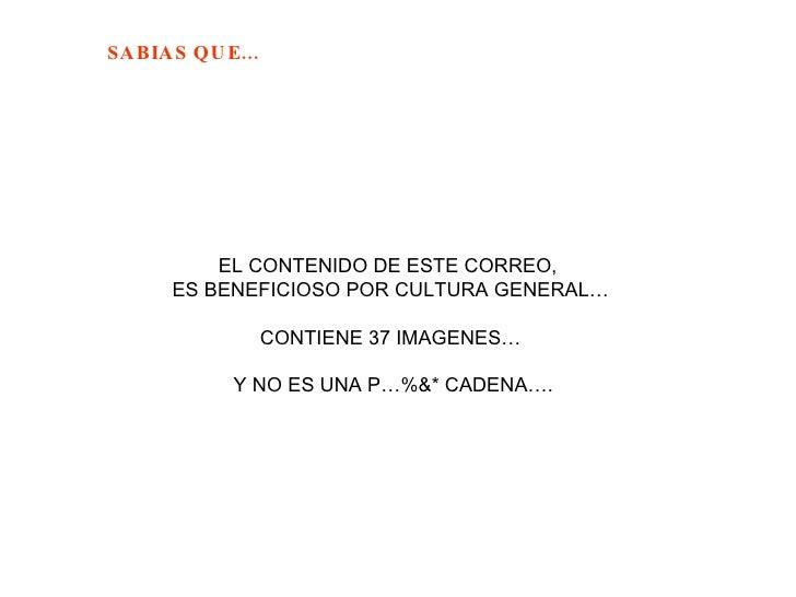 EL CONTENIDO DE ESTE CORREO,  ES BENEFICIOSO POR CULTURA GENERAL… CONTIENE 37 IMAGENES… Y NO ES UNA P…%&* CADENA….