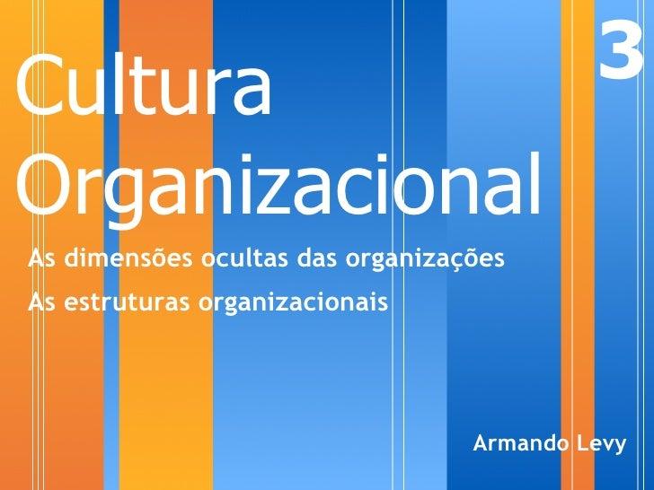 Cultura                                    3 Organizacional As dimensões ocultas das organizações As estruturas organizaci...