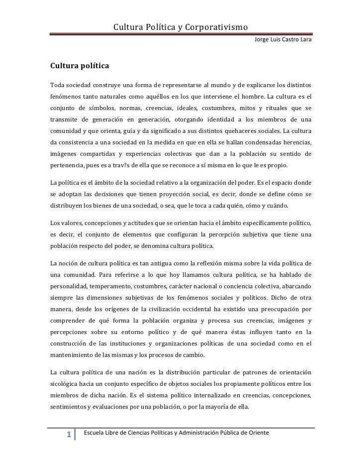 Cultura Política y Corporativismo                                                                              Jorge Luis ...