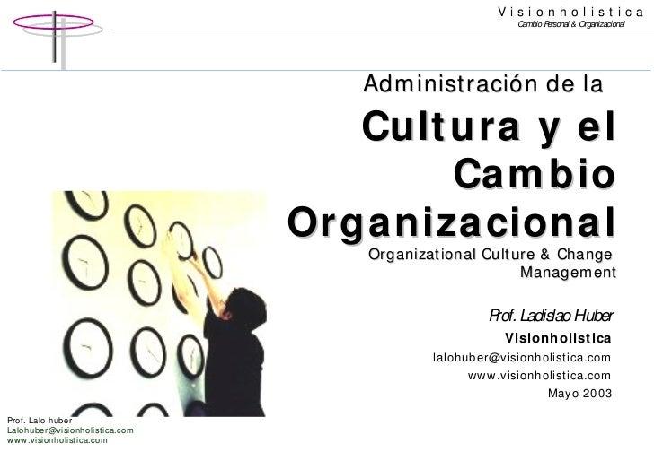 Administración de la   Cultura y el Cambio Organizacional Organizational Culture & Change  Management Prof. Ladislao Huber...