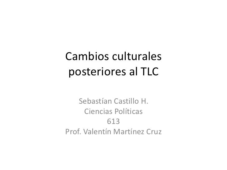 Cambios culturalesposteriores al TLC<br />Sebastían Castillo H.<br />Ciencias Políticas<br />613<br />Prof. Valentín Martí...