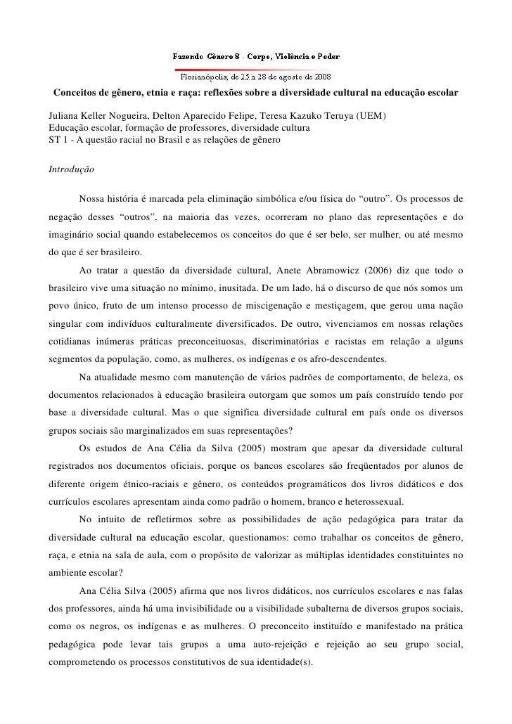 Conceitos de gênero, etnia e raça: reflexões sobre a diversidade cultural na educação escolar  Juliana Keller Nogueira, De...