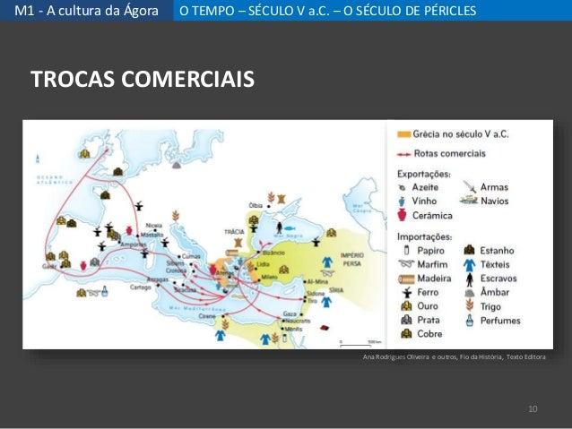M1 - A cultura da Ágora O TEMPO – SÉCULO V a.C. – O SÉCULO DE PÉRICLES TROCAS COMERCIAIS 10 Ana Rodrigues Oliveira e outro...