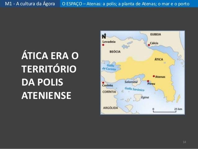M1 - A cultura da Ágora O ESPAÇO – Atenas: a polis; a planta de Atenas; o mar e o porto ÁTICA ERA O TERRITÓRIO DA POLIS AT...