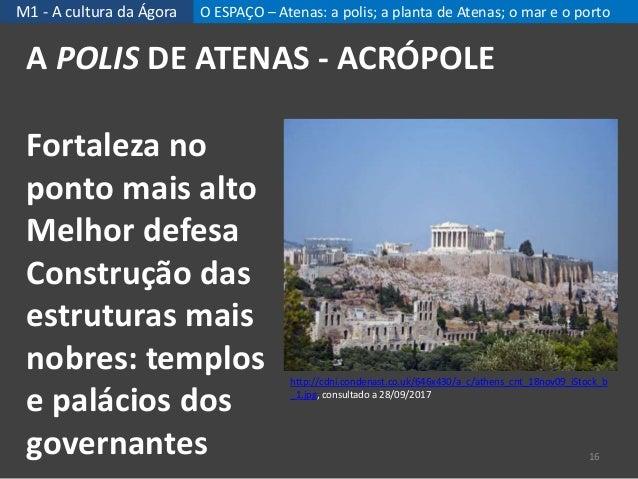 M1 - A cultura da Ágora O ESPAÇO – Atenas: a polis; a planta de Atenas; o mar e o porto A POLIS DE ATENAS - ACRÓPOLE 16 ht...