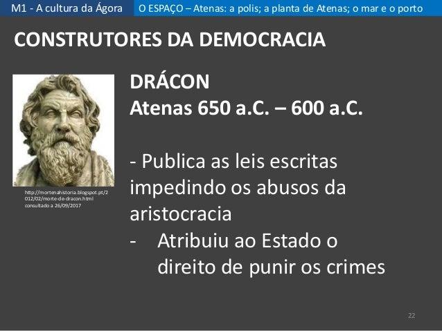 M1 - A cultura da Ágora O ESPAÇO – Atenas: a polis; a planta de Atenas; o mar e o porto 22 CONSTRUTORES DA DEMOCRACIA DRÁC...