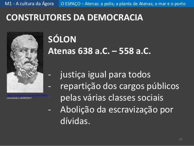 M1 - A cultura da Ágora O ESPAÇO – Atenas: a polis; a planta de Atenas; o mar e o porto 23 CONSTRUTORES DA DEMOCRACIA SÓLO...