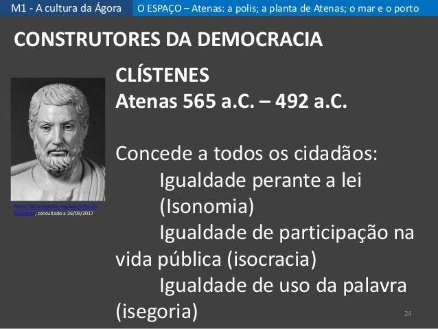 M1 - A cultura da Ágora O ESPAÇO – Atenas: a polis; a planta de Atenas; o mar e o porto 24 CONSTRUTORES DA DEMOCRACIA CLÍS...