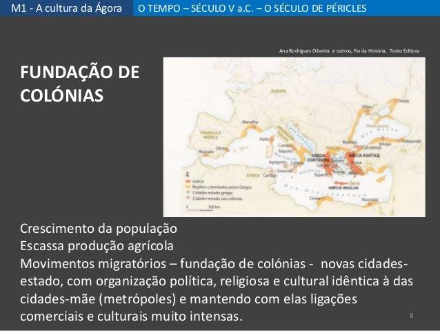 M1 - A cultura da Ágora O TEMPO – SÉCULO V a.C. – O SÉCULO DE PÉRICLES Crescimento da população Escassa produção agrícola ...