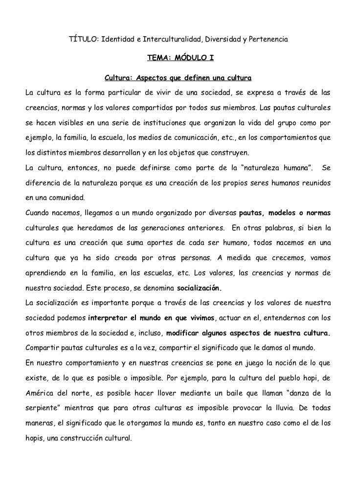 TÍTULO: Identidad e Interculturalidad, Diversidad y Pertenencia                                       TEMA: MÓDULO I      ...