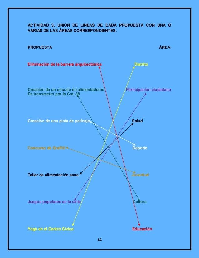 ACTIVIDAD 3, UNIÓN DE LINEAS DE CADA PROPUESTA CON UNA OVARIAS DE LAS ÁREAS CORRESPONDIENTES.PROPUESTA                    ...