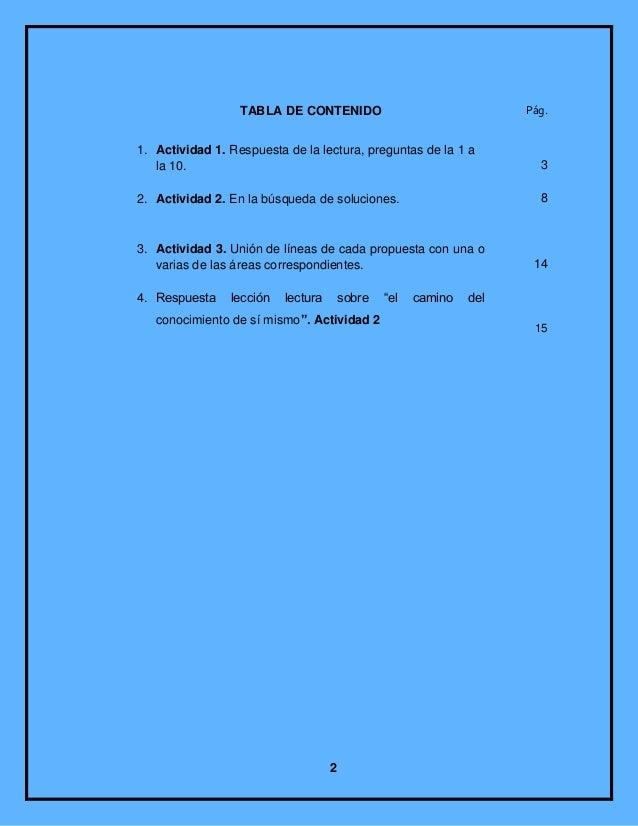 TABLA DE CONTENIDO                                 Pág.1. Actividad 1. Respuesta de la lectura, preguntas de la 1 a   la 1...