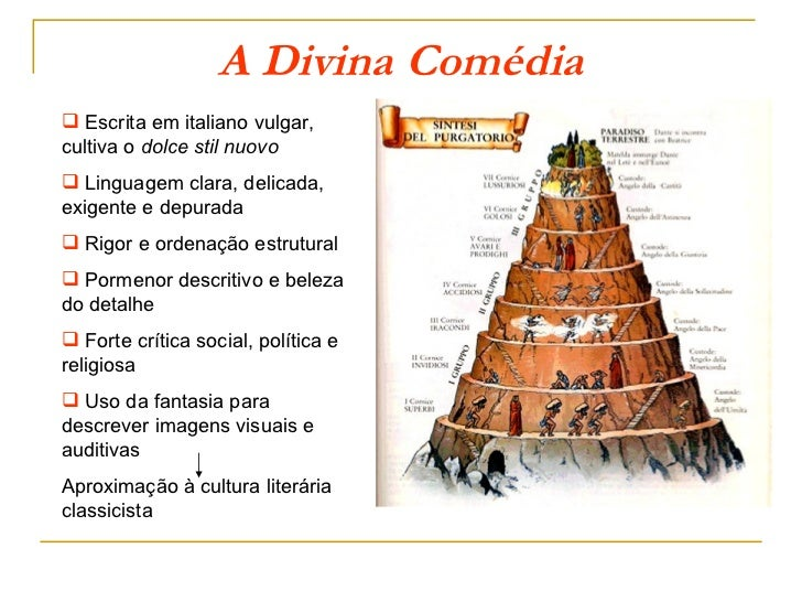 A Divina Comédia Escrita em italiano vulgar,cultiva o dolce stil nuovo Linguagem clara, delicada,exigente e depurada Ri...