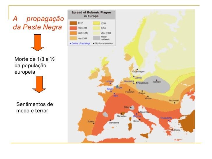 A propagaçãoda Peste NegraMorte de 1/3 a ½da populaçãoeuropeiaSentimentos demedo e terror