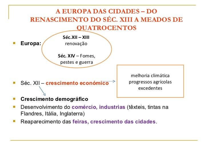 A EUROPA DAS CIDADES – DO       RENASCIMENTO DO SÉC. XIII A MEADOS DE                 QUATROCENTOS                    Séc....