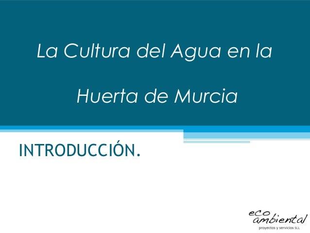 La Cultura del Agua en la Huerta de Murcia INTRODUCCIÓN.