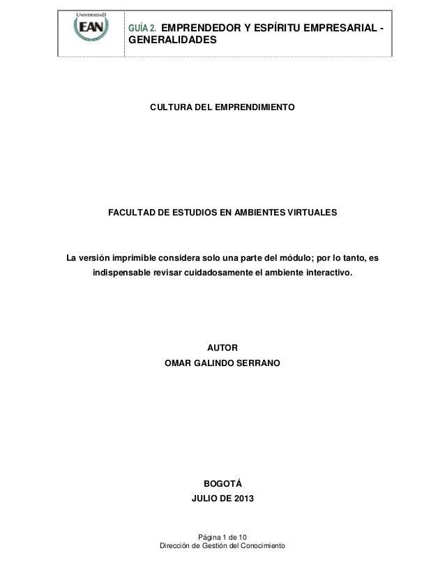 GUÍA 2. EMPRENDEDOR Y ESPÍRITU EMPRESARIAL -  GENERALIDADES  CULTURA DEL EMPRENDIMIENTO  FACULTAD DE ESTUDIOS EN AMBIENTES...