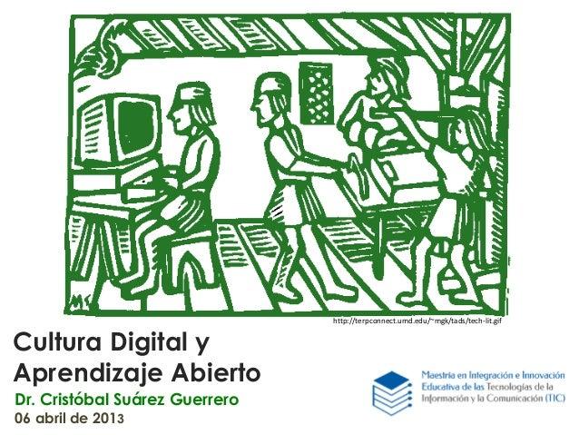 Cultura Digital y Aprendizaje Abierto Dr. Cristóbal Suárez Guerrero 06 abril de 2013 http://terpconnect.umd.edu/~mgk/tads/...