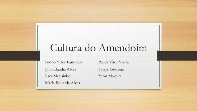 Cultura do Amendoim  Bruno Vitor Laurindo  Júlia Claudia Alves  Lara Mousinho  Maria Eduarda Alves  Paulo Vitor Vieira  Th...
