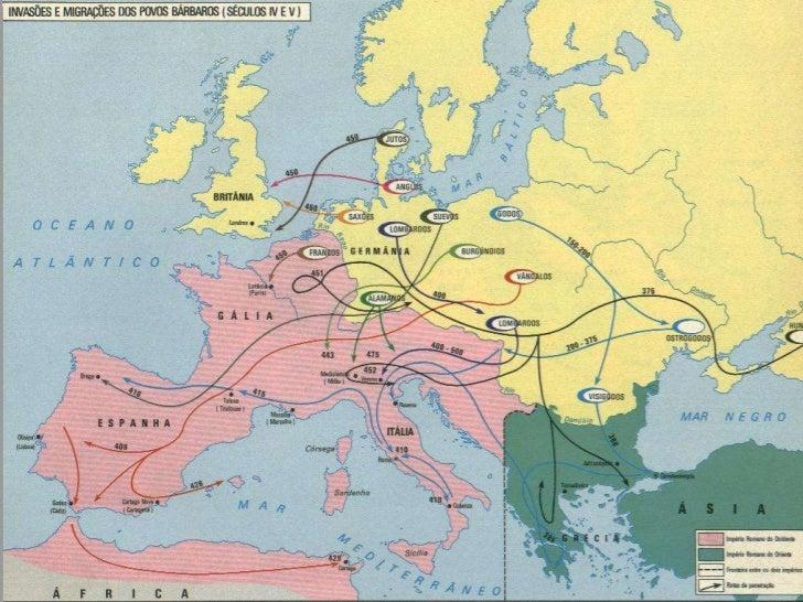 Consequências das invasões bárbaras                 Queda do Império Romano do Ocidente     Desorganização       Enfraquec...