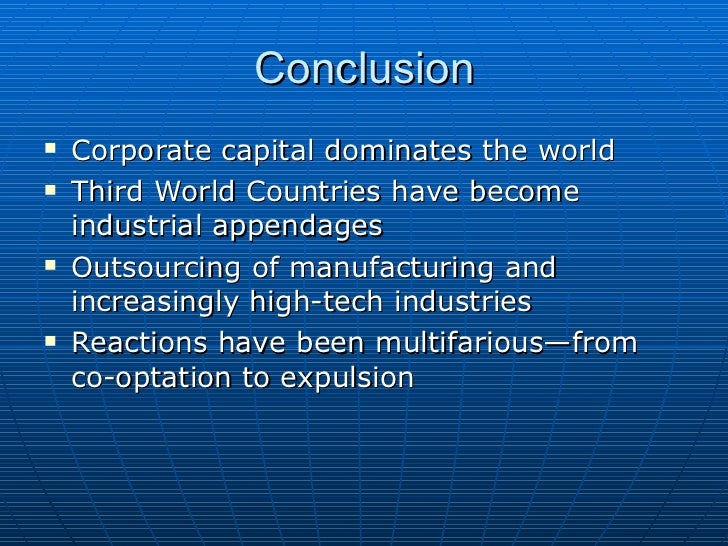 conclusion of globalization In conclusion, globalization is a serious issue that affects many nationsresearchers should analyze these impacts carefully so as to prevent the negativeimpacts it is essential to note that the force behind globalization cannot be stopped.