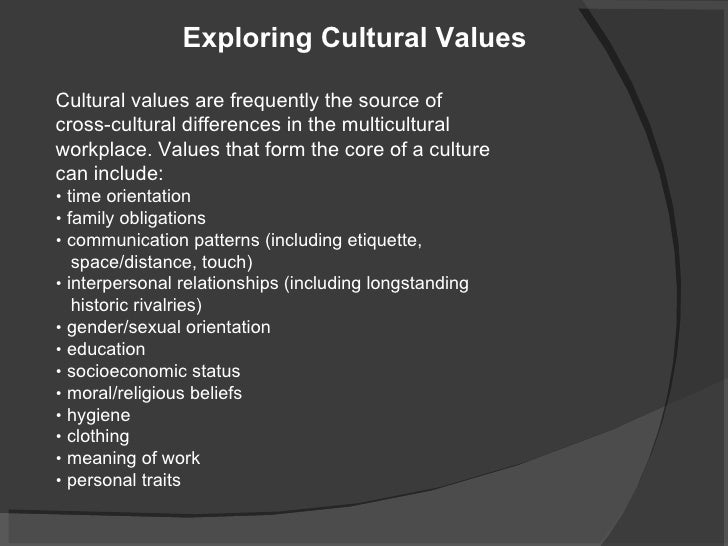 """differences in cultural values in different cultures So what is """"culture"""" there are many cultures: professional, corporate,  educational, national (with geographical differences), religious/spiritual,."""