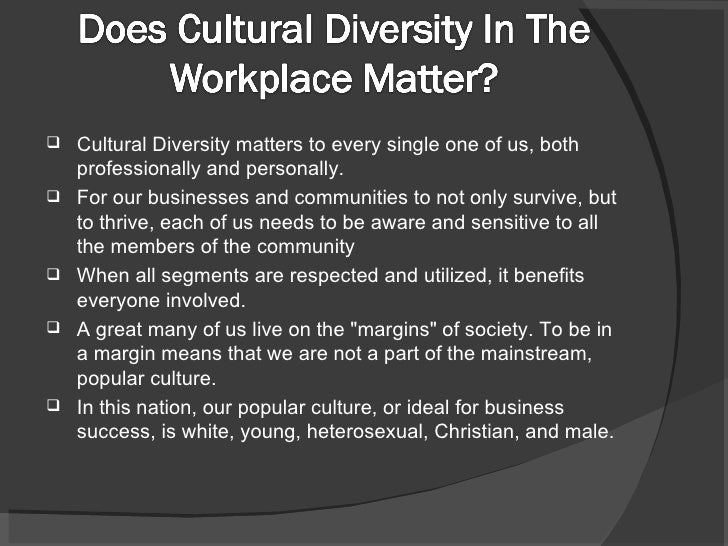 Diversity Meaning Workplace >> Cultural Diversity
