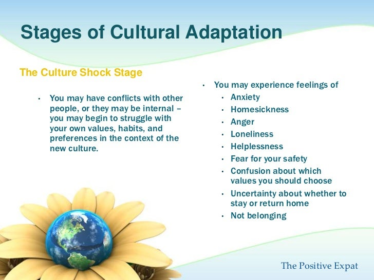 cultural shock and adaptation Understanding the adaptation required in order to cope with a new host culture can help one recognize the marked differences between two very different societies the term culture shock was coined by renowned anthropologist kalervo oberg in a.