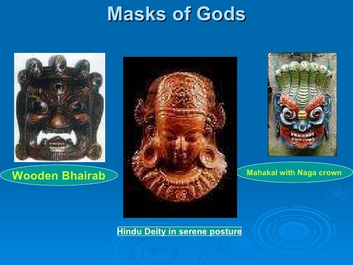 Masks of Gods Wooden Bhairab Hindu Deity in serene posture Mahakal with Naga crown