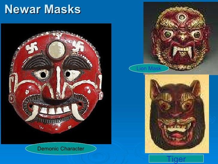Newar Masks Demonic Character Tiger Lion Mask