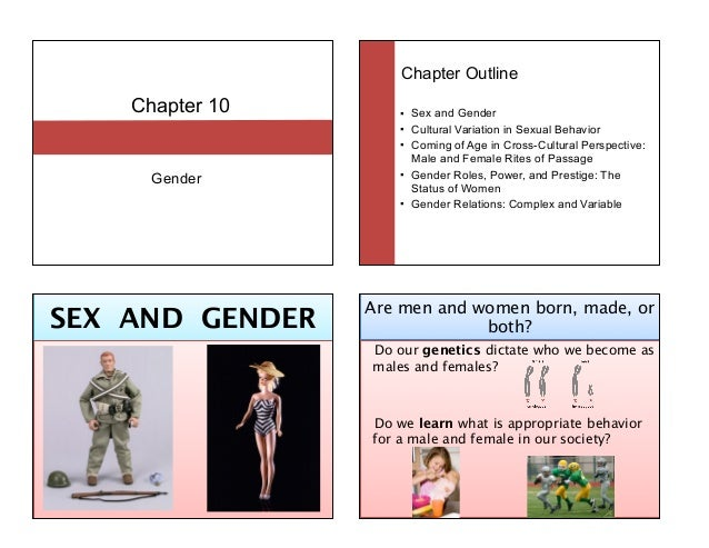 Chapter 10 Gender Chapter Outline ! Sex and Gender ! Cultural Variation in Sexual Behavior ! Coming of Age in Cross-Cultur...