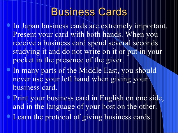 Cultural awareness and business etiquette around the world business cards colourmoves
