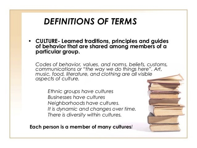 cultural competency definitions The set of four components of our cultural competence definition represent the  key features of each of the popular definitions ours go beyond integrating.