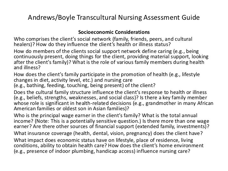 nursing cultural assessment example