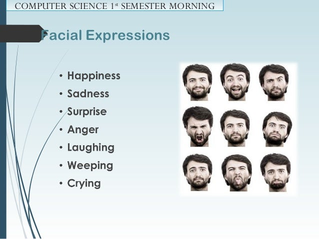 Facial Expressions: COMPUTER SCIENCE 1st SEMESTER MORNING Asian cultures suppress (repress) facial expression as much as ...
