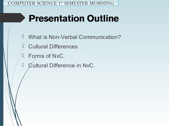 What is Non-verbal Communication ? ? COMPUTER SCIENCE 1st SEMESTER MORNING
