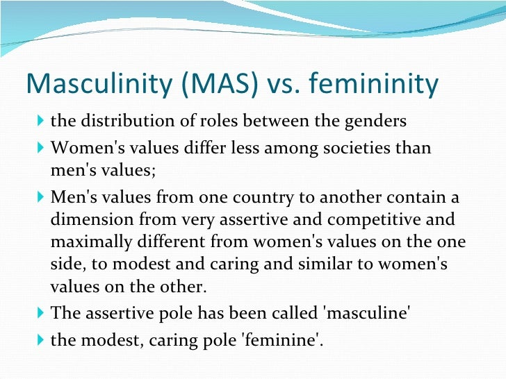 masculinity vs femininity Masculinity vs femininity geert hofstede here you can see four persons, three of them are adults and the other one is a student one of the adult seems to be the principal of a school, the.