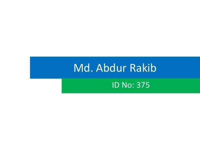 Md. Abdur Rakib      ID No: 375