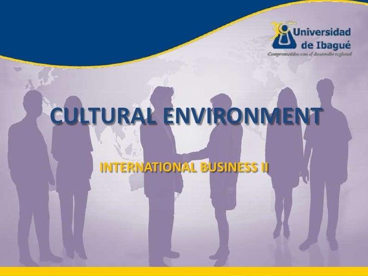 CULTURAL ENVIRONMENT<br />INTERNATIONAL BUSINESS II<br />