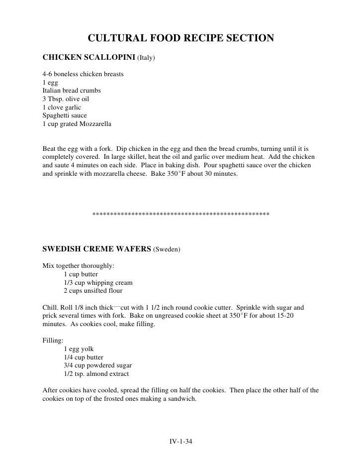 CULTURAL FOOD RECIPE SECTION CHICKEN SCALLOPINI (Italy)  4-6 boneless chicken breasts 1 egg Italian bread crumbs 3 Tbsp. o...