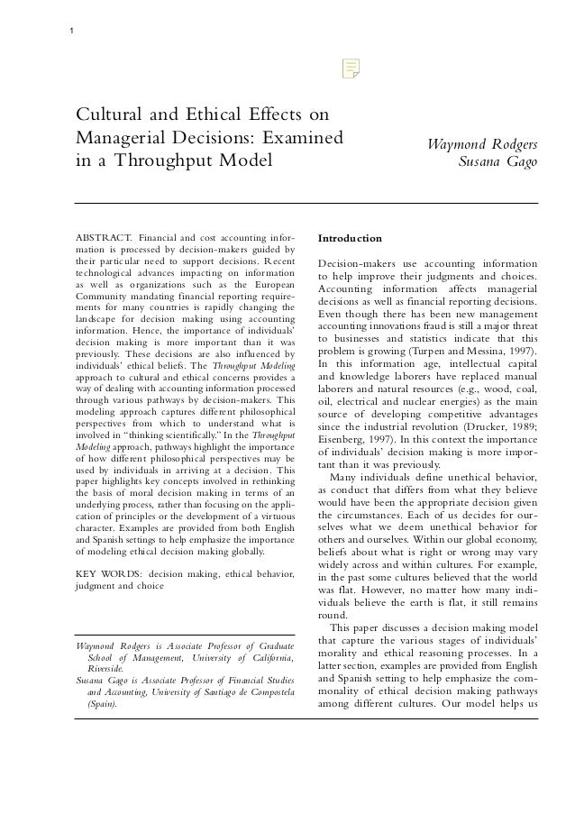 1    Cultural and Ethical Effects on    Managerial Decisions: Examined                                                    ...