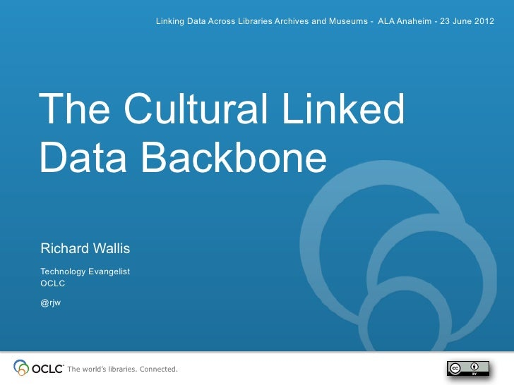Linking Data Across Libraries Archives and Museums - ALA Anaheim - 23 June 2012The Cultural LinkedData BackboneRichard Wal...