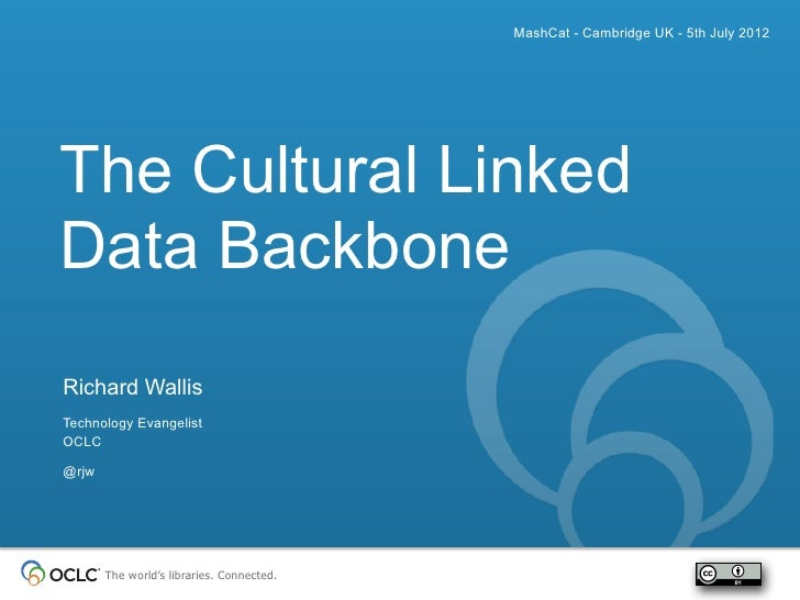 MashCat - Cambridge UK - 5th July 2012The Cultural LinkedData BackboneRichard WallisTechnology EvangelistOCLC@rjw       Th...