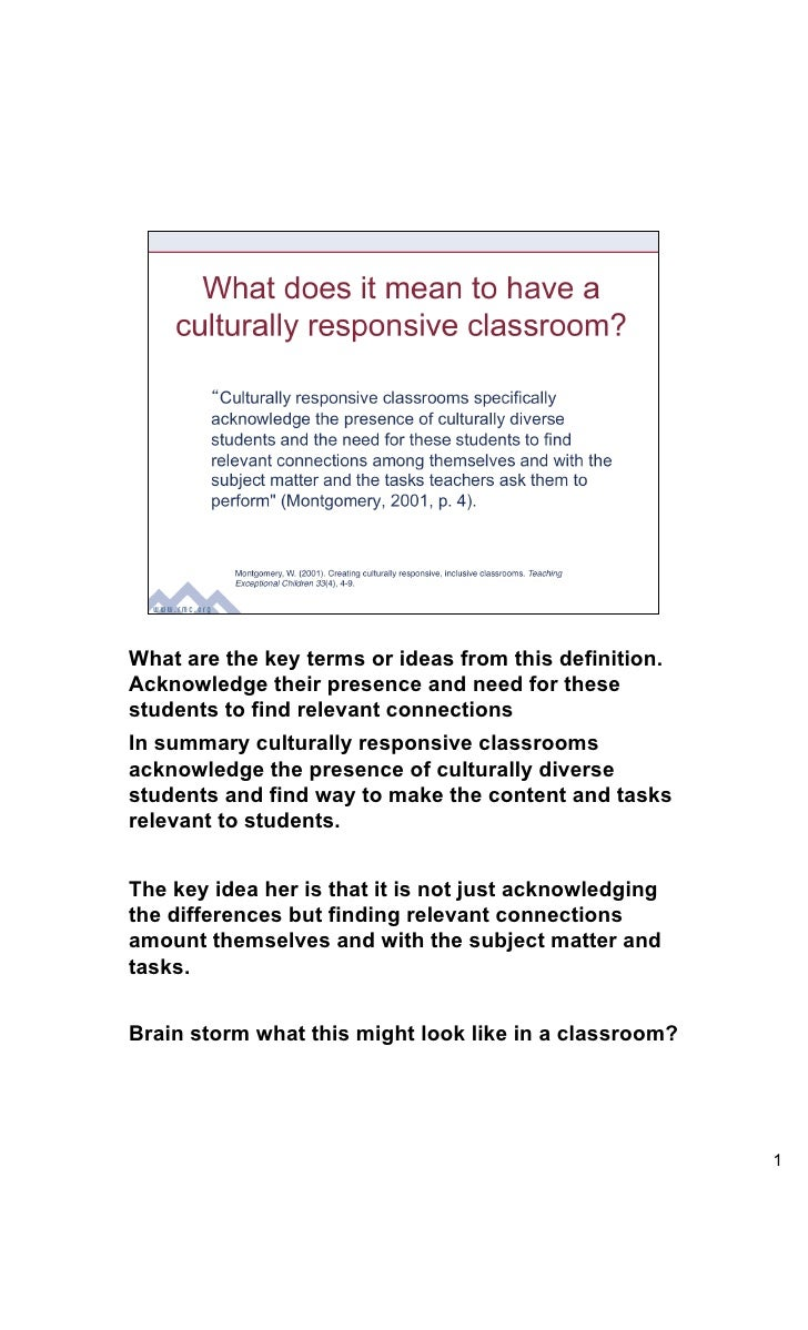 What are the key terms or ideas from this definition.Acknowledge their presence and need for thesestudents to find relevan...